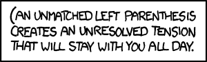 Brains aside, I wonder how many poorly-written xkcd.com-parsing scripts will break on this title (or \;;&quot;\&#39;&#39;{\&lt;&lt;[&#39; this mouseover text.&quot;