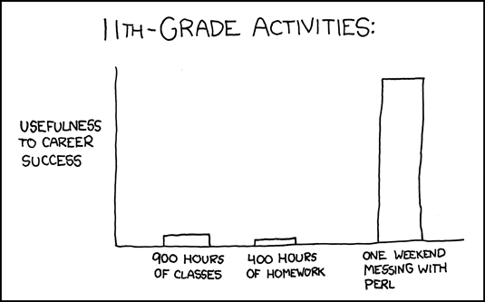 http://xkcd.com/519/ And the ten minutes striking up a conversation with that strange kid in homeroom sometimes matters more than every other part of high school combined.
