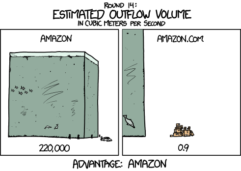 Outflow of the Amazon Compared to the Outflow of Amazon.com