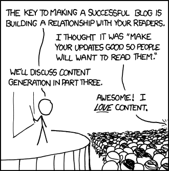 A funny cartoon with a lecturer giving a talk about blogging and receiving blog-like comments shouted back from the floor