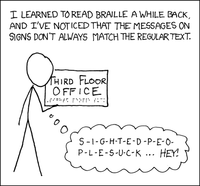 [A stick figure is reading the Braille at the bottom of a sign with his hand. Caption: 'I learned to read Braille a while back, and I've noticed that the messages on signs don't always match the regular text.' The sign says: 'Third floor office' in print and '{caps}sight{ed} people suck' in Braille. The stick figure has a thought bubble saying: 'S-i-g-h-t-e-d-p-e-o-p-l-e-s-u-c-k ... hey!'.