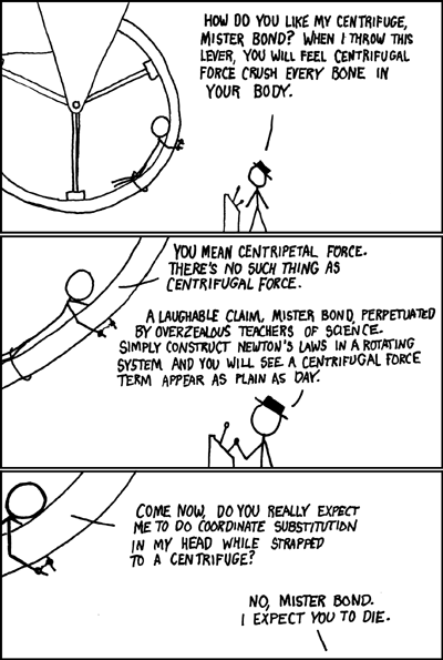 Centripetal force, not Centrifugal