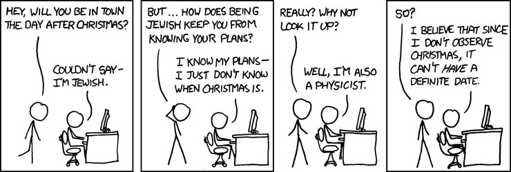Physicists who want to protect traditional Christmas realize that the only way to keep from changing Christmas is not to observe it.