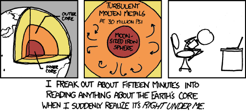 xkcd cartoon of earth's core