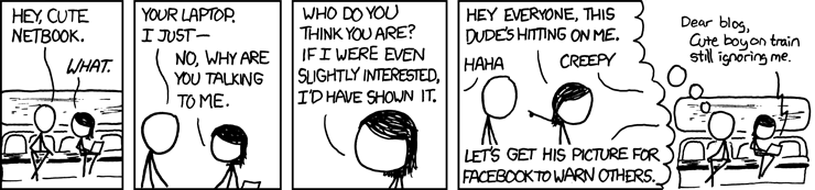 XKCD Cartoon with a guy worried about the cute girl being offended if he says hello.