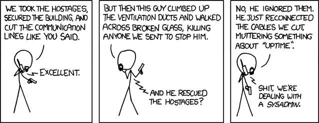 XKCD comic strip about uptime and sysadmins