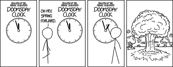After a power outage at the Bulletin of the Atomic Scientists, the new Digital Doomsday Clock is flashing 00:00 and mushroom clouds keep appearing and then retracting once a second.