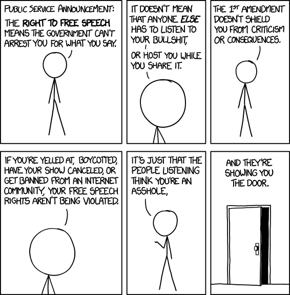 Cartoon 1357 by XKCD dealing with free speech