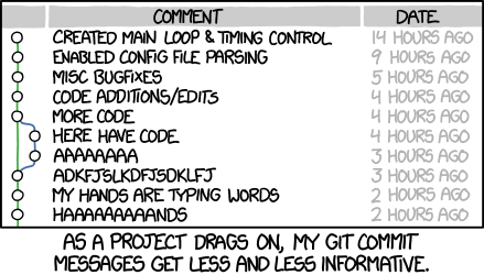 Git commit comic by xkcd