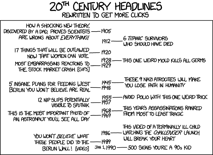 20th Century Headlines - comic from xkcd.com