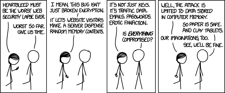Two stick figures discuss the data that could be revealed by the Heartbleed vulnerability, including keys, emails, passwords, and erotic fanfiction