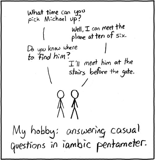 writing in iambic pentameter Review iambic pentameter with your students  speak to me in iambic speak to me in iambic  use one or all of the prompts in this poetry writing lesson plan.