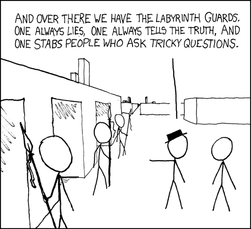 And the whole setup is just a trap to capture escaping logicians.  None of the doors actually lead out.