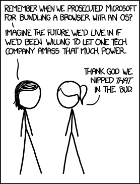 Facebook, Apple, and Google all got away with their monopolist power grabs because they don't have any 'S's in their names for critics to snarkily replace with '$'s. [http://xkcd.com/1118/]