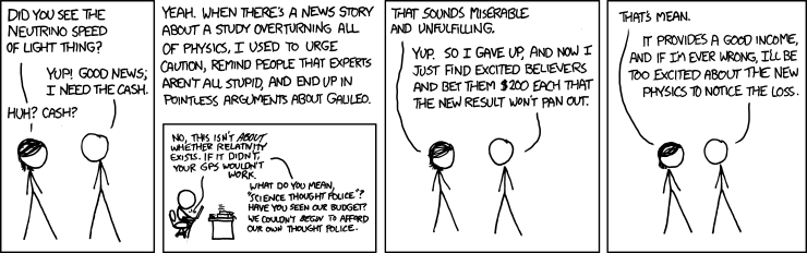 XKCD and the neutrinos faster-than-the-speed-of-light thing