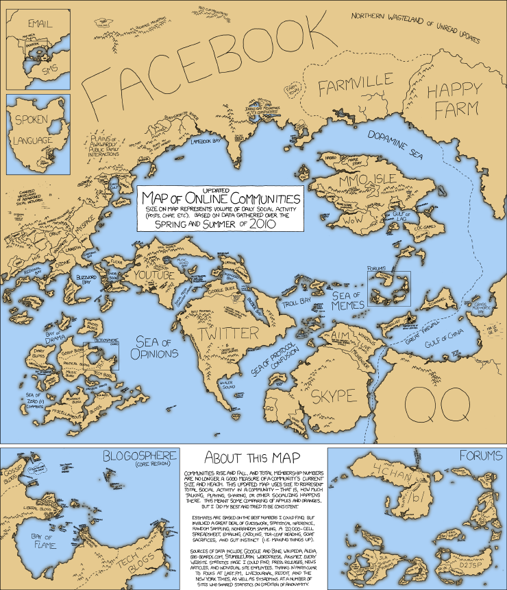 Updated map of online communities (Source: xkcd.)