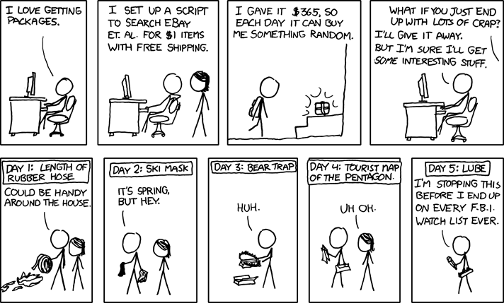 XKCD | I Love Getting Packages | I Set Up a Script to Search Ebay [COMIC]