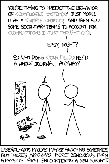 XKCD comic on physicists' hubris