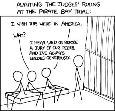 Awaiting The Judges' Ruling At The Pirate Bay Trial | XKCD [COMIC]