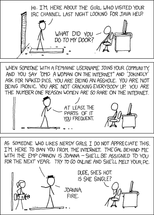 A reasonable suggestion from XKCD