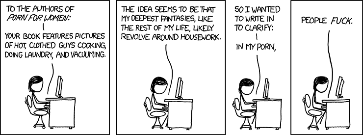 XKCD's hover caption: Yes, there are a lot of longing looks across the bridge of Galactica first, but that&#39;s beside the point!