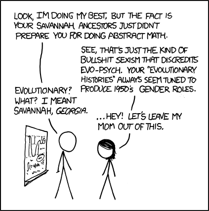 Well, this is at least vaguely related to explaining and what people identify with… (Source: xkcd.com)