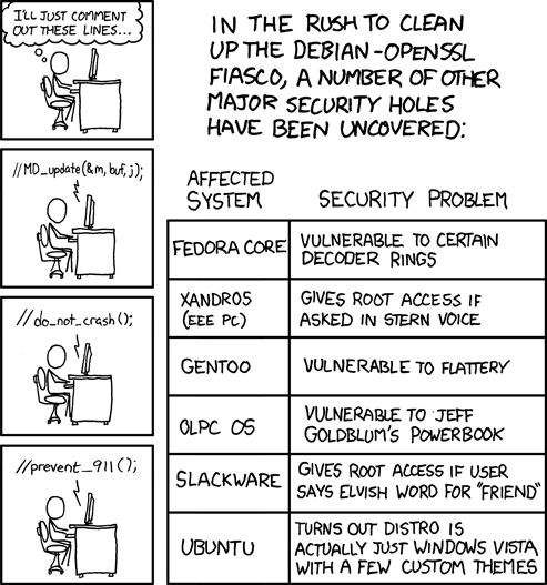 xkcd comic strip Security Holes by Randall Munroe. The subjects of the comics themselves vary. Some are statements on life and love (some love strips are random art with poetry), and some are mathematical or scientific in-jokes. Some strips feature simple humor or pop-culture references. Although known for its crudely drawn cast of oddball stick figures, the comic occasionally features landscapes, intricate mathematical patterns such as fractals, or imitations of the style of other cartoonists (as during