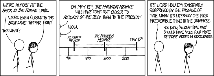 A long, long time (plus 40 years) ago, in a galaxy far, far away (plus a corrective factor involving the Hubble constant) ...