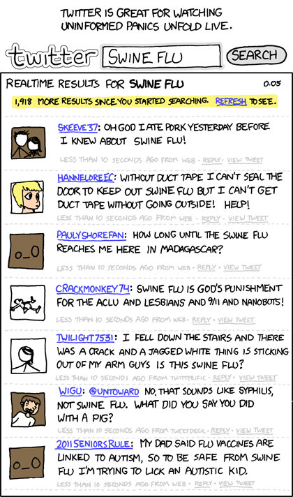 Swine Flu Twitter comic by xkcd