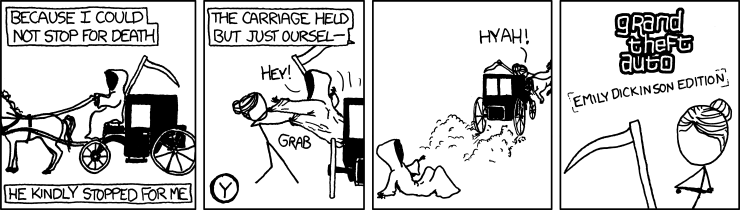 xkcd: Grand Theft Auto: Emily Dickinson Edition