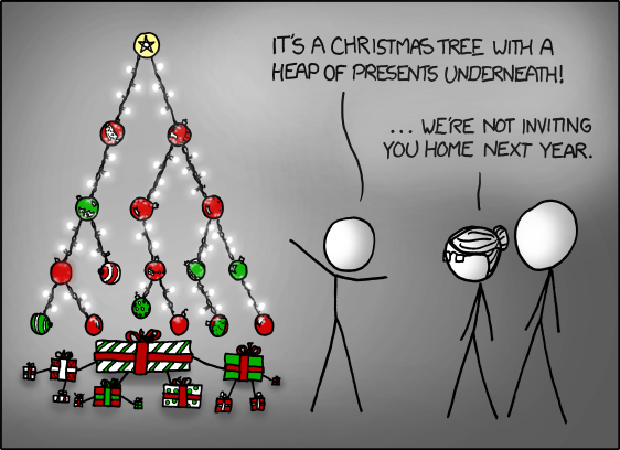 It's a Christmas Tree With a Heap of Presents Underneath - We're not Inviting You Home Next Year - XKCD [COMIC]