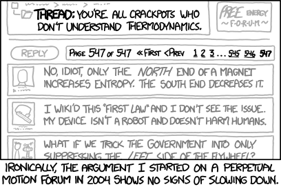 The misguided search for a perpetual motion machine has run substantially longer than any attempted perpetual motion machine.