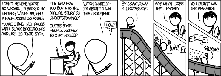 Comic of a man going down a waterslide rather than continuing to argue with someone on the internet.