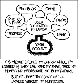 XKCD 1200: Authorization. If someone steals my laptop while I'm logged in, they can read my email, take my money, and impersonate me to my friends, but at least they can't install drivers without my permission