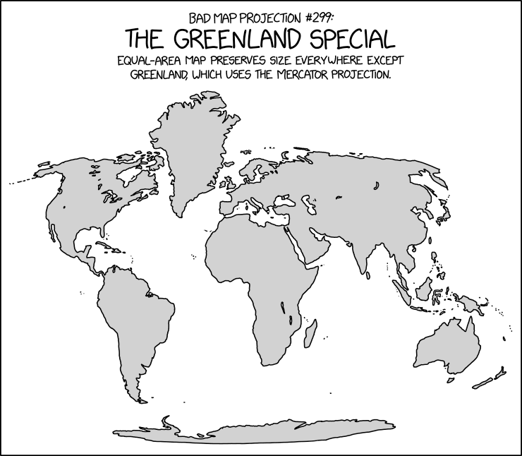 The projection for those who think the Mercator projection gives people a distorted idea of how big Greenland is, but a very accurate idea of how big it SHOULD be.