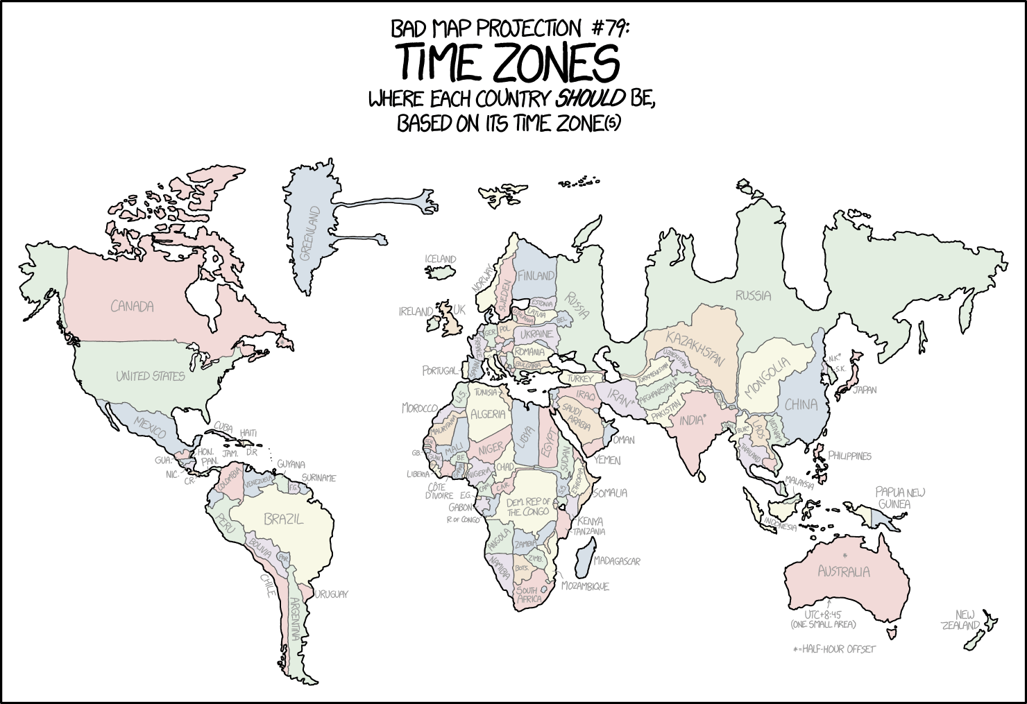 xkcd: Bad Map Projection: Time Zones