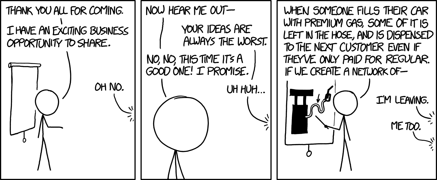 A comic depicting someone presenting a bad business idea