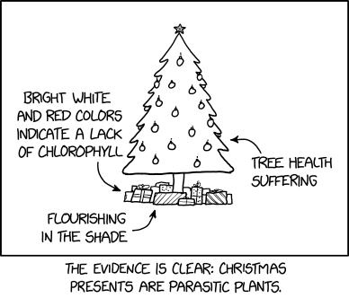 """""""The parisitism might be mediated by a fungus!"""" exclaimed the biologist who was trying to ruin Christmas again."""