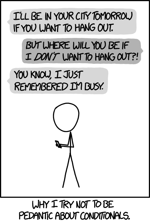 Conditionals, a comic from xkcd