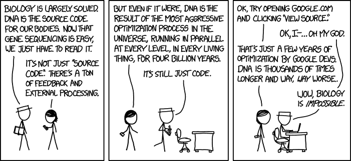 XKCD asserting that biology is impossible
