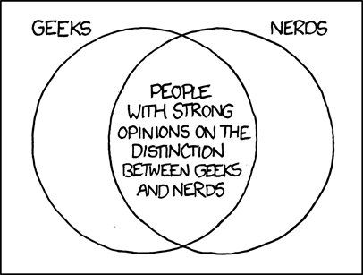 The definitions I grew up with were that a geek is someone unusually into something (so you could have computer geeks, baseball geeks, theater geeks, etc) and nerds are (often awkward) science, math, or computer geeks. But definitions vary.