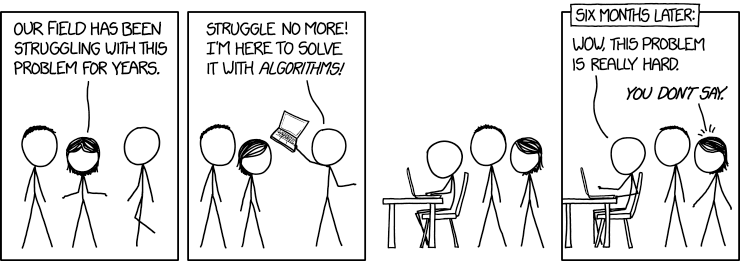 Thanks to Mike for sending me this wonderfully apt comic, by xkcd.