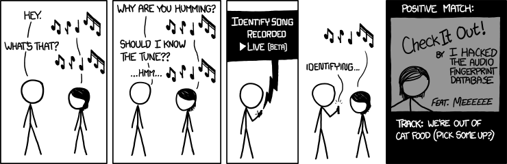I'm so bad at carrying a tune, those 'find a song by humming its melody' websites throw an HTTP 406 error as soon as I start to hum.