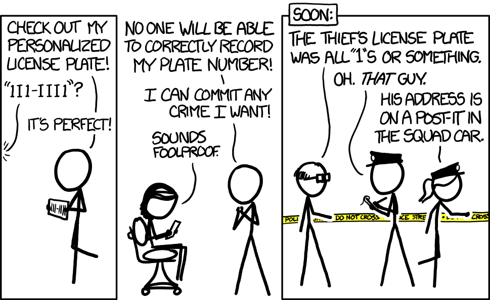 xkcd: License Plate