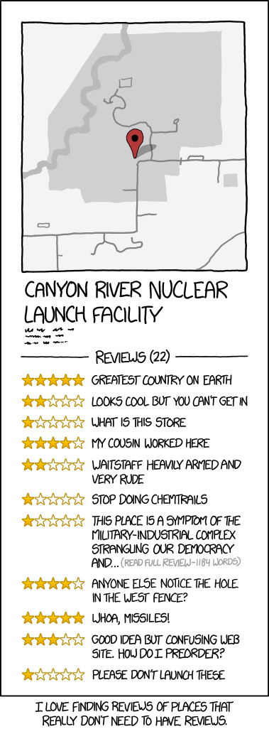 xkcd: Location Reviews