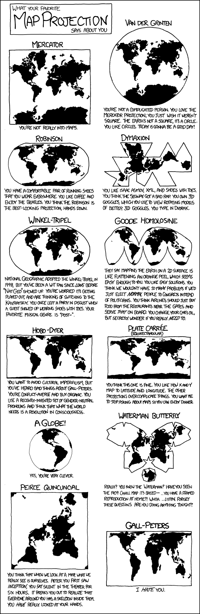 'What your favourite map project says about you.' Various maps comically explained. Includes: Mercator, Van der Grinten Robinson, Dymaxion, Winkel-Tripel, Goode Homolosine, Hobo-Dyer, Plate Caree, globe, Waterman Butterfly, Pierce Qunicuncial, and Gall-Peters
