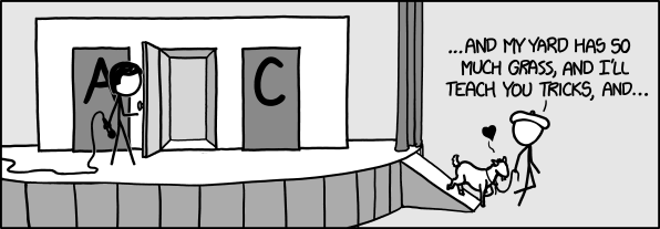 "An image, from xkcd, showing a figure wearing a baret having chosen the goat from behind door B, telling it ""... and my yard has so much grass, and I'll teach you tricks, and ..."""