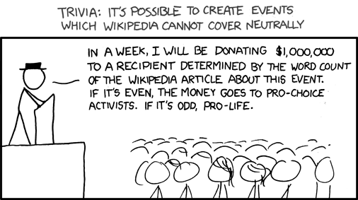 Trivia: It's Possible to Create Events Which Wikipedia Cannot Cover Neutrally [COMIC]