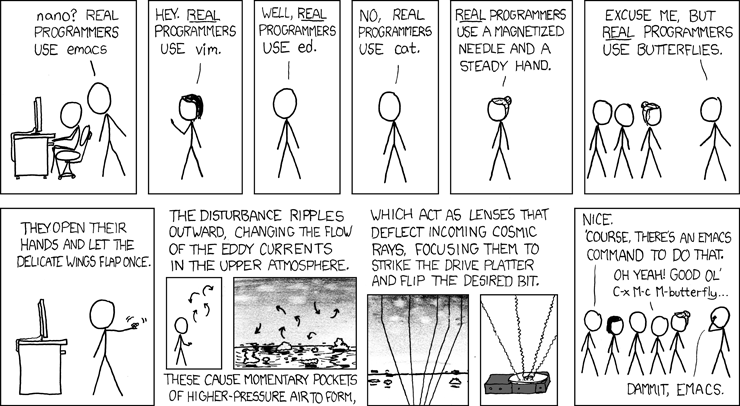 A comic from XKCD about programming tools debates