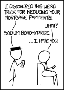 Fortunately, we do not have to resort to chemistry puns to reduce our hosting bills. (Source: xkcd.com)